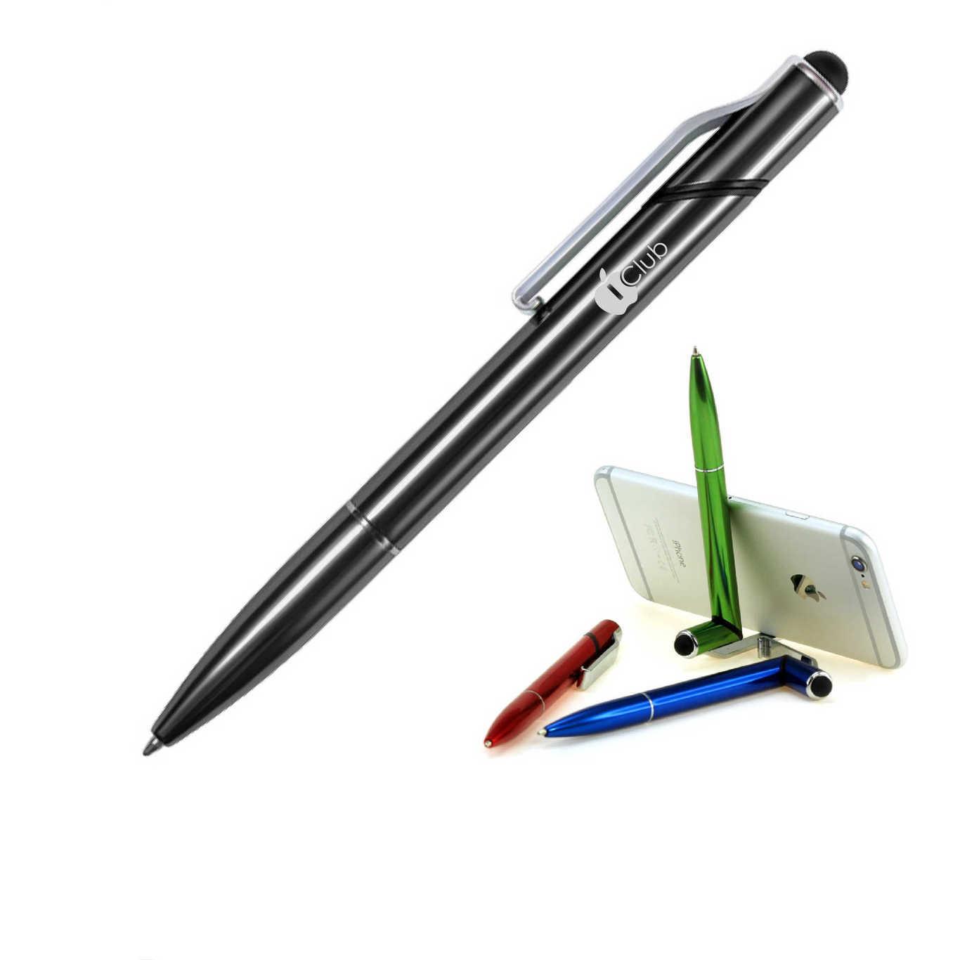 Ручка-стилус-подставка с логотипом под смартфон металлическая
