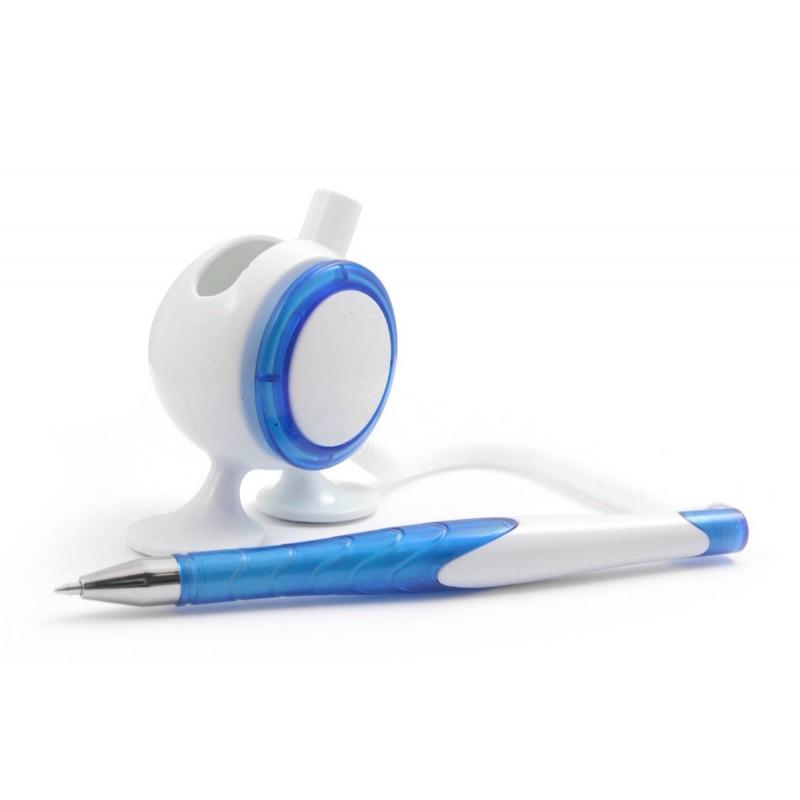 Ручка с логотипом пластиковая с креплением на стол