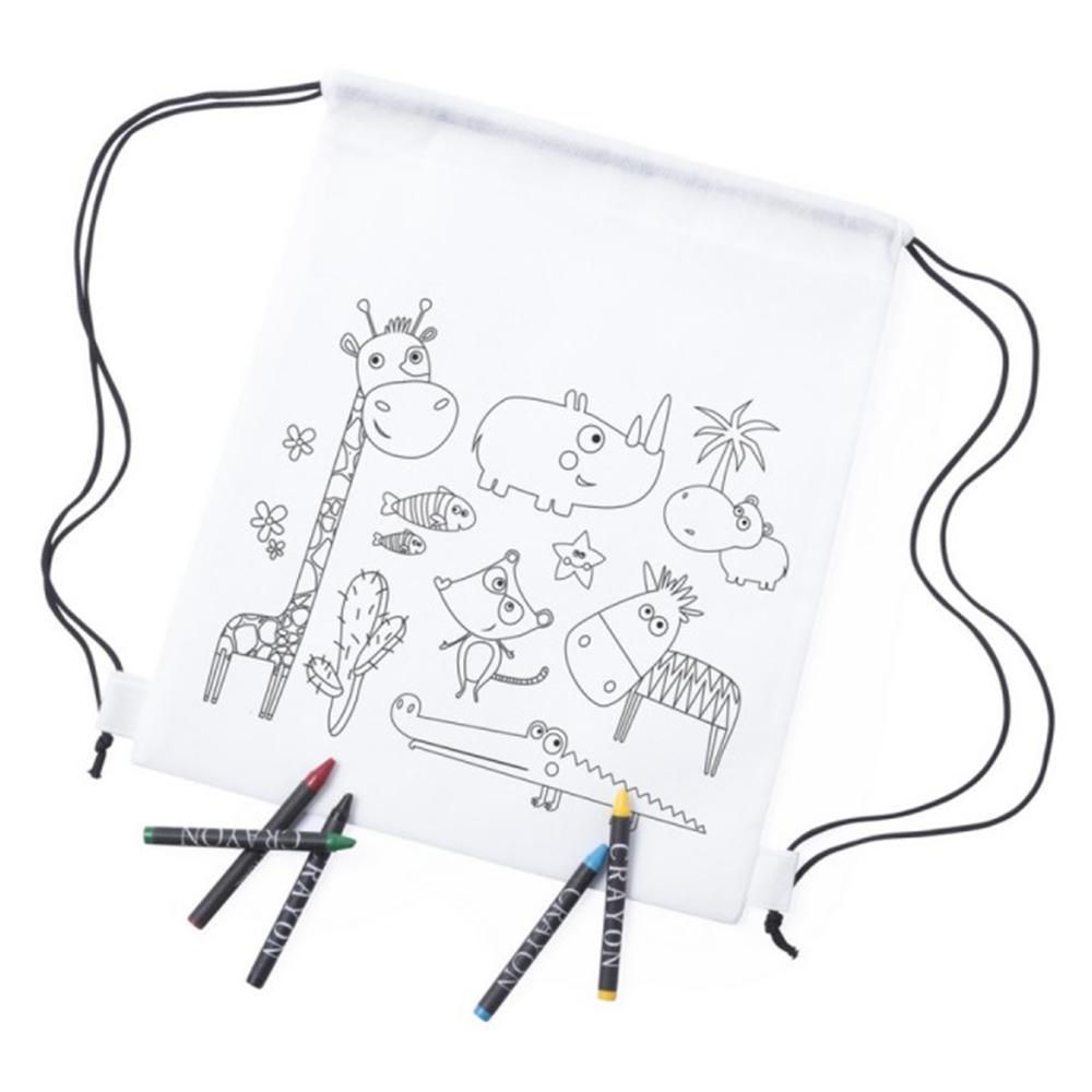 Спортивный мешок для раскрашивания с цветными карандашами